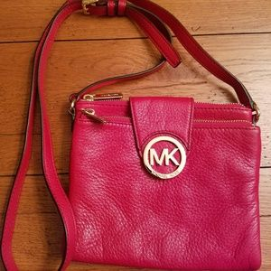 Michael Kors Red Leather Crossbody Handbag